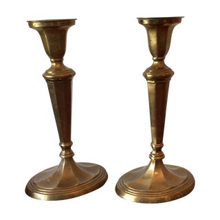 William Rogers & Sons Brass Candlesticks- A Pair