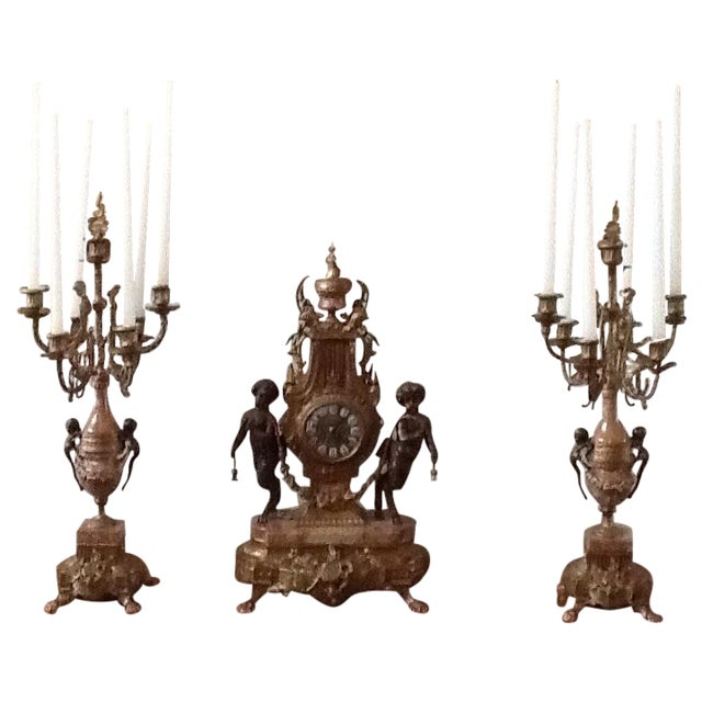 Marble Cherub Clock and Candelabras - Image 1 of 5