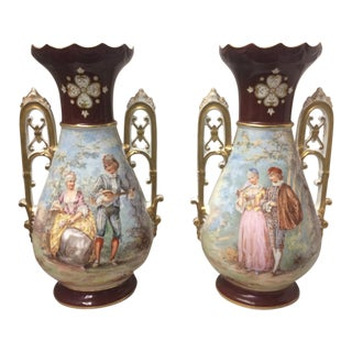 Limoges Signed Victorian Vases - A Pair