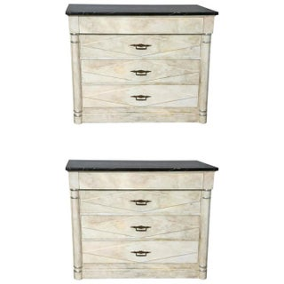 Faux Painted Marble Top Dressers- A Pair