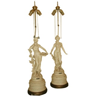 L & F Moreau Spelter Table Lamps - A Pair