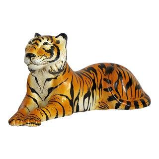 Mid-Century Modern Italian Ceramic Tiger Sculpture Hollywood Regency Style MCM Italy Majolica