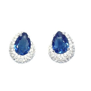 Pave & Sapphire Color Stone Earrings