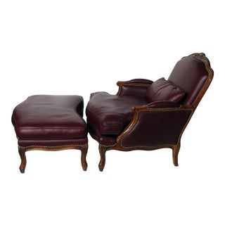 Baker Leather Club Chair and Ottoman