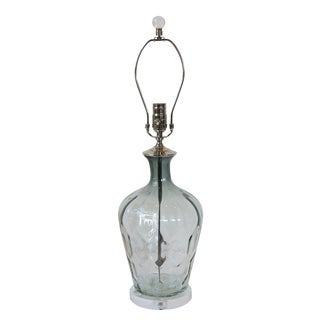 Light Platinum Grey Clear Faceted Glass Lamp