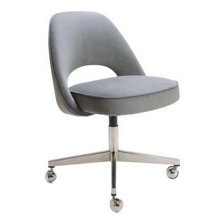 Saarinen for Knoll Executive Armless Chair in Gray Moleskin, Swivel Base