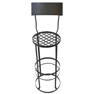 Industrial Woven Bar Stool with Back