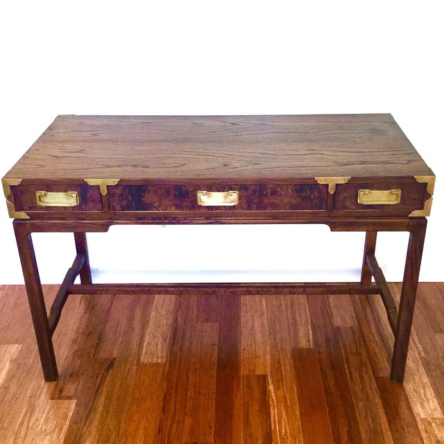 Asian Style Burl Drawers Campaign Desk - Image 2 of 8