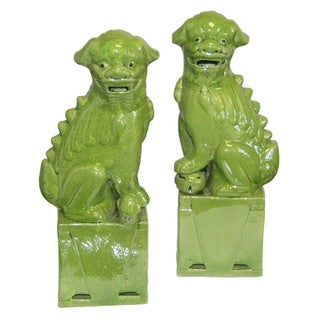 Large Green Foo Dogs - A Pair