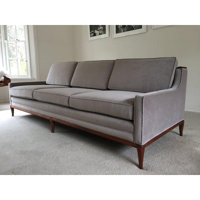 Mid Century Grey Sofa: Mid-Century Grey Velvet Sofa