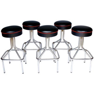 Five Mid Century High Stools