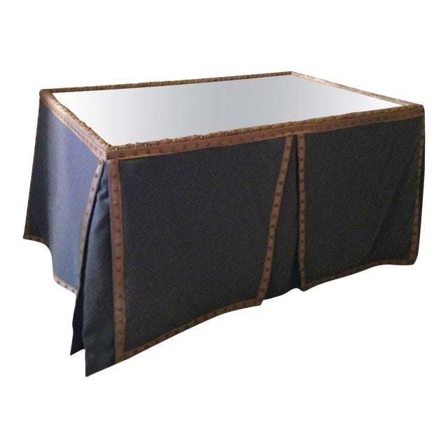 Wool Felt and Gold Braid Skirted Dressing Table with Antique French Mirror Top - Image 1 of 8