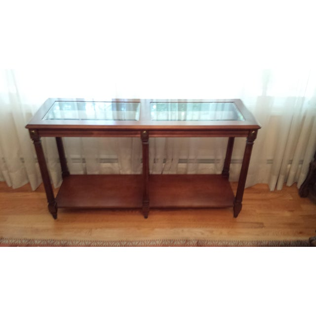 Vintage Solid Fruitwood and Beveled Glass Console Table - Image 11 of 11
