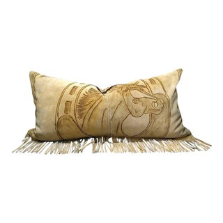 Western Fringed Suede Pillow