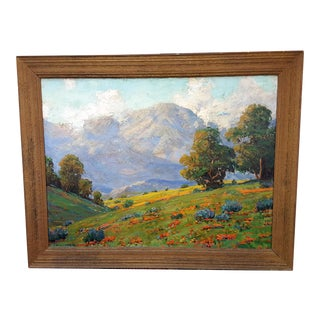 California Wild Flowers Landscape Oil Painting by James Merriam