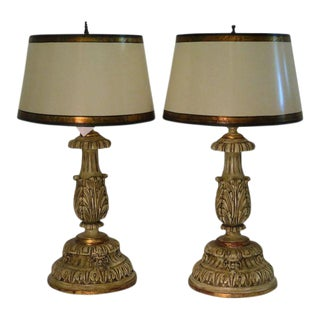 Thomas Morgan Designer Table Lamps W Custom Shades - a Pair