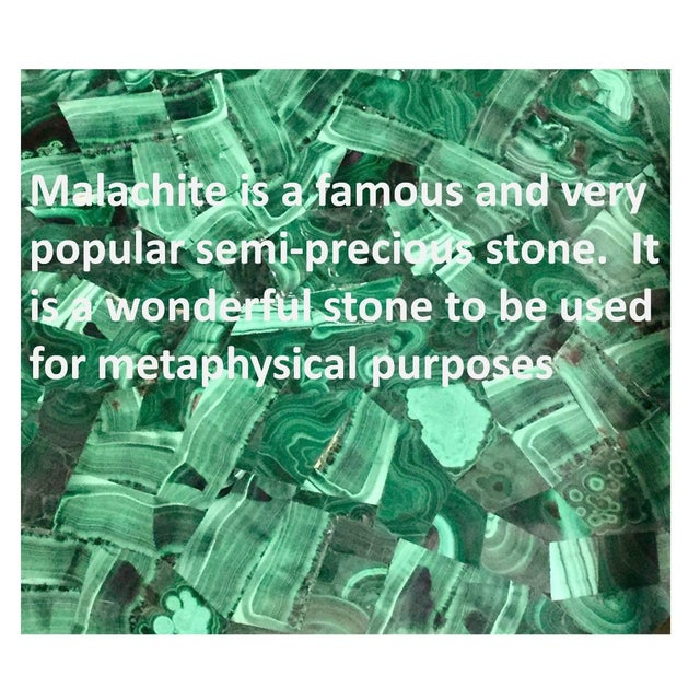 Malachite Stone & Metal Handle Side Table - Image 5 of 5