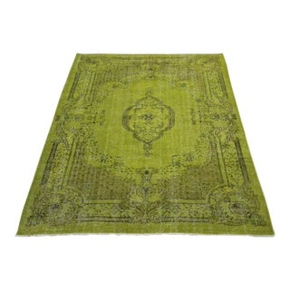 "Traditional Turkish Green Overdyed Rug - 5'10"" x 8'4"""