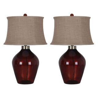 Red Glass Table Lamp with Beige Softback Shade - 2