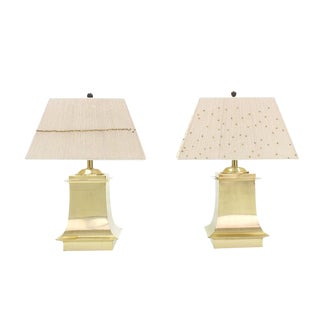 Mid-Century Modern Brass Beads Shade & Brass Base Table Lamps -A Pair