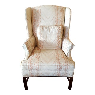 Flame Stitch Floral Wingback Chair