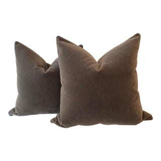 "Mink Brown Mohair Pillows - 22"" x 22"" - A Pair"