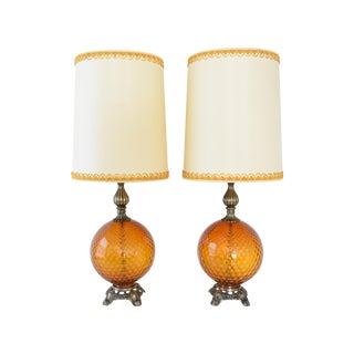 Mid-Century Amber Glass Globe Table Lamps - Pair