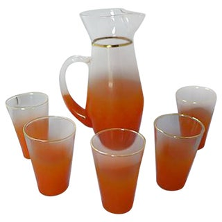 Orange Lemonade Pitcher & Glasses - Set of 6