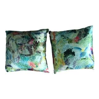 Scalamandre Stark Silk Pillows With Black Velvet Back - a Pair