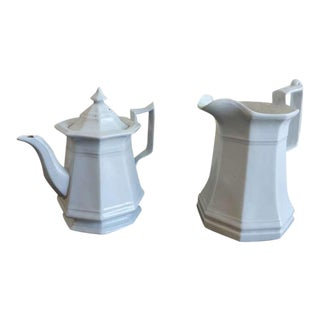 19th C. Ironstone Teapot And Pitcher