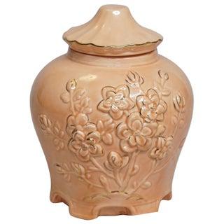 Floral Pink & Gold Ginger Jar