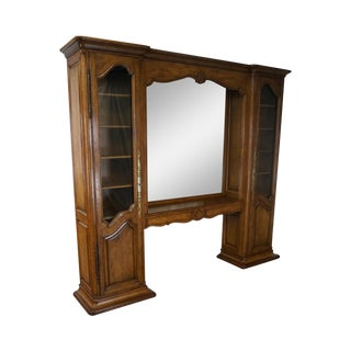 Auffray & Co French Country Walnut Trumeau Mirror Bookcase