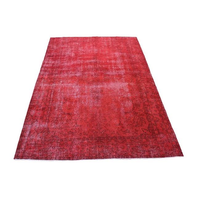 "Vintage Turkish Red Overdyed Rug - 7'2"" X 11' - Image 1 of 6"