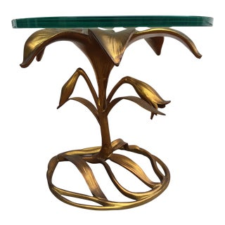 Gilt Aluminum Gold Lily End Table