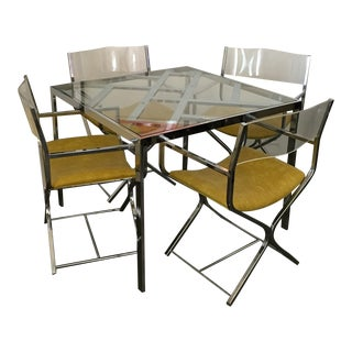 Chrome and Glass Game and or Dining Table and Four Chrome and Lucite Armchairs