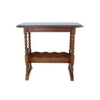 Vintage Victorian Accent Table with Slanted Bookshelf