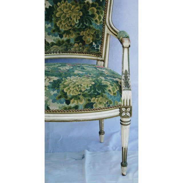 Scalamandre Marly Velvet Tapestry Fabric Armchair - Image 4 of 11
