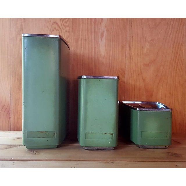 Image of Vintage Avocado Green Kitchen Canister - Set of 3