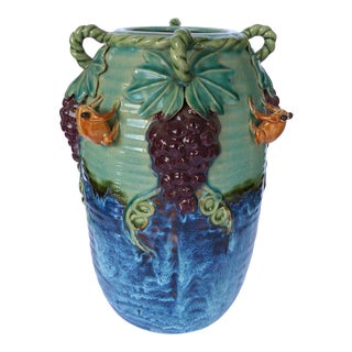 Glazed Majolica Pottery Grapes & Frogs Motif Vase