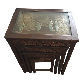 Oriental / Asian Carved Nesting Tables - Set of 4