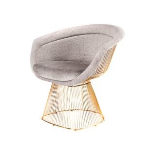 Platner-Style Gold & Gray Velvet Lounger