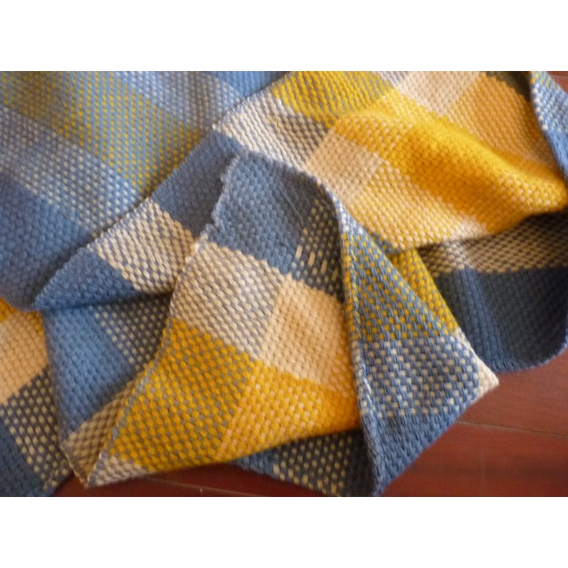 Vintage Blue and Yellow Wool Throw - Image 3 of 6