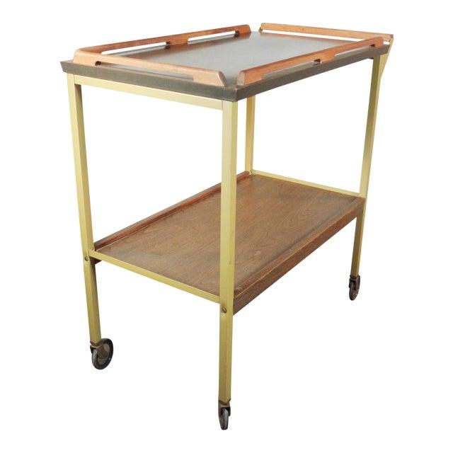 Mid-Century Wood Tray Bar Cart - Image 1 of 5
