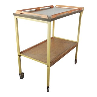 Mid-Century Wood Tray Bar Cart