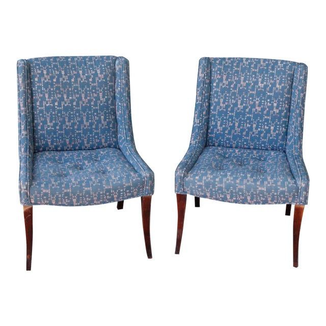 Retro Fabric Side Chairs - A Pair - Image 1 of 9