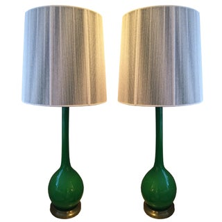 1960's Green Glass Lamps With Custom String Shades - A Pair