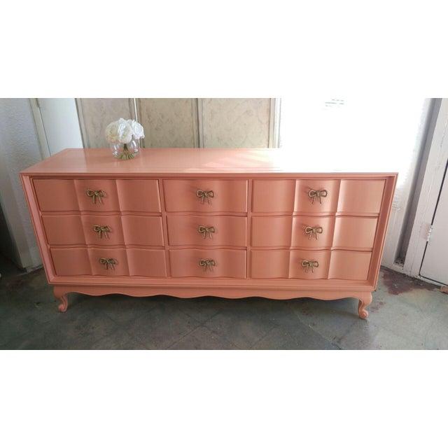 Refinished Vintage Coral Dresser - Image 5 of 5