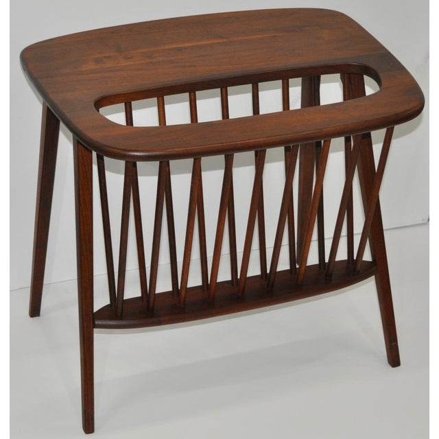 Arthur Umanoff Walnut Side Table & Magazine Rack - Image 2 of 4
