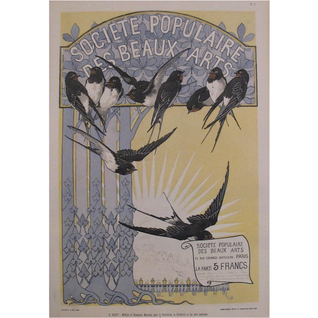 Antique Black Birds Matted Art Deco Poster - Image 1 of 3