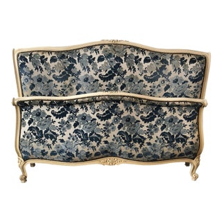 Antique French Full Size Embossed Headboard & Footboard - A Pair